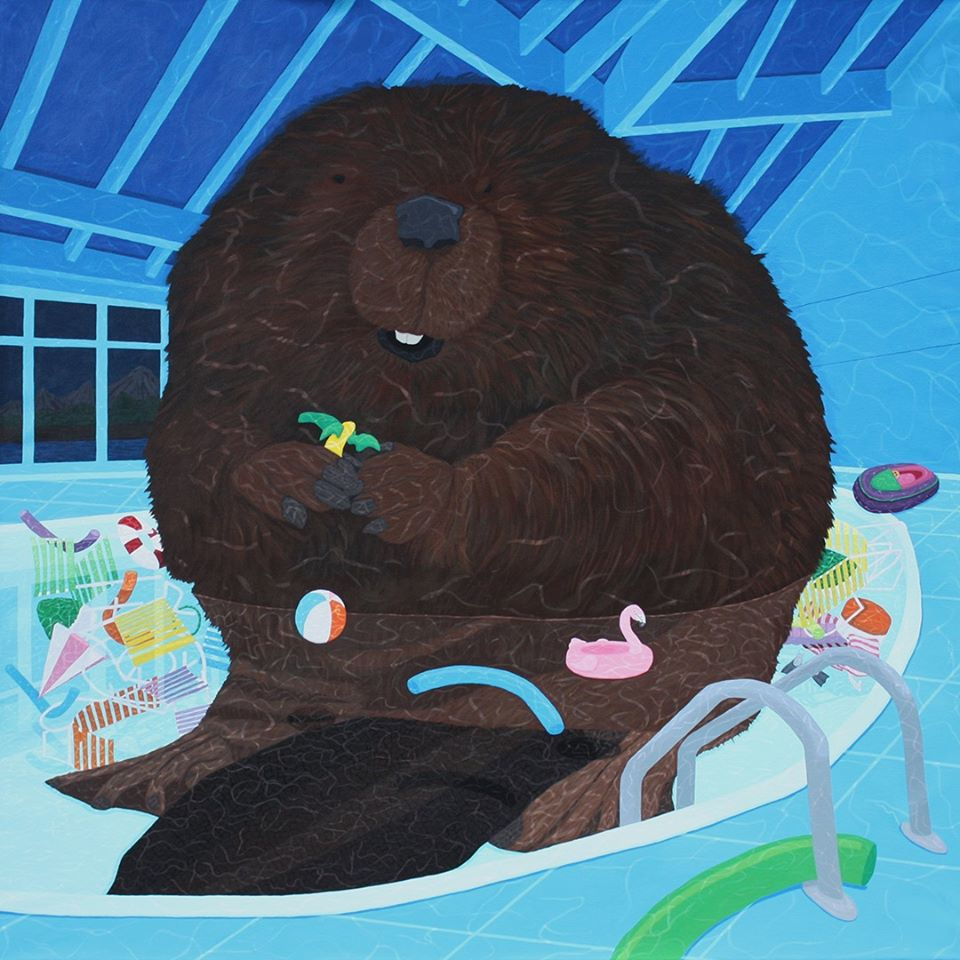 dam-theres-a-beaver-in-the-pool-acrylic-on-canvas-48-x-48-x-1.6-inches-2019-10000-cad
